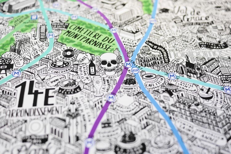 Detailed Hand Drawn Map of Paris by Jenni Sparks