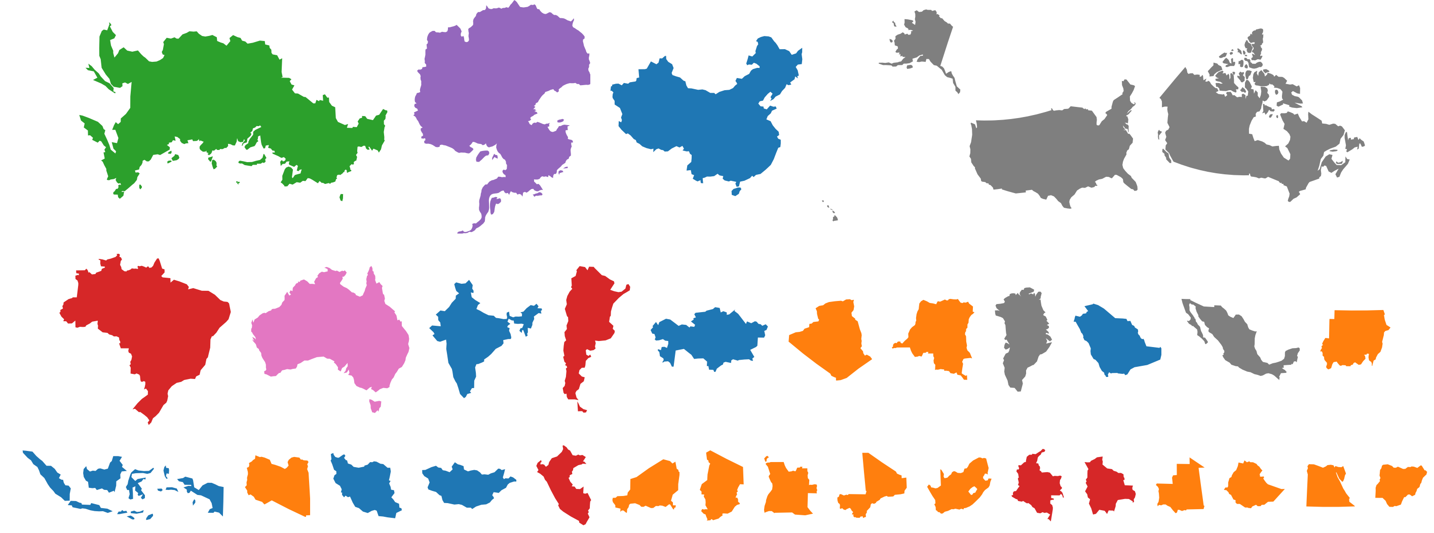 A simple but effective data visualization breaking down for World countries by size