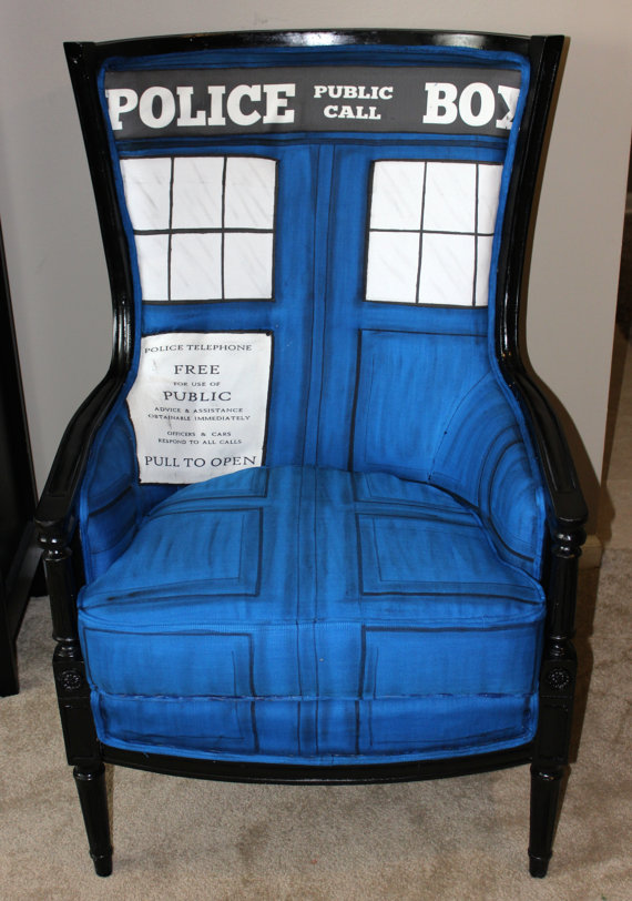 'Dr. Who TARDIS Chair', A Whimsical Bergère Regency Chair Reupholstered With a Handmade TARDIS Design