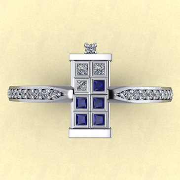 TARDIS Ring Single Banded With Diamonds