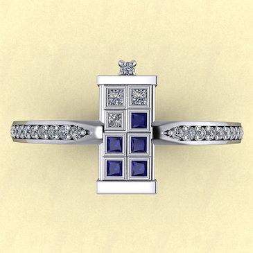 TARDIS Ring Single Banded With Diamonds