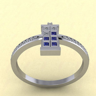 TARDIS Ring Single Diamond Side