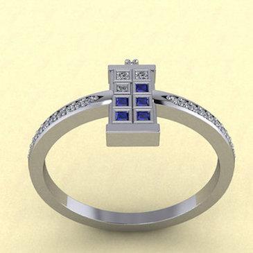 TARDIS Ring Single Diamond Side