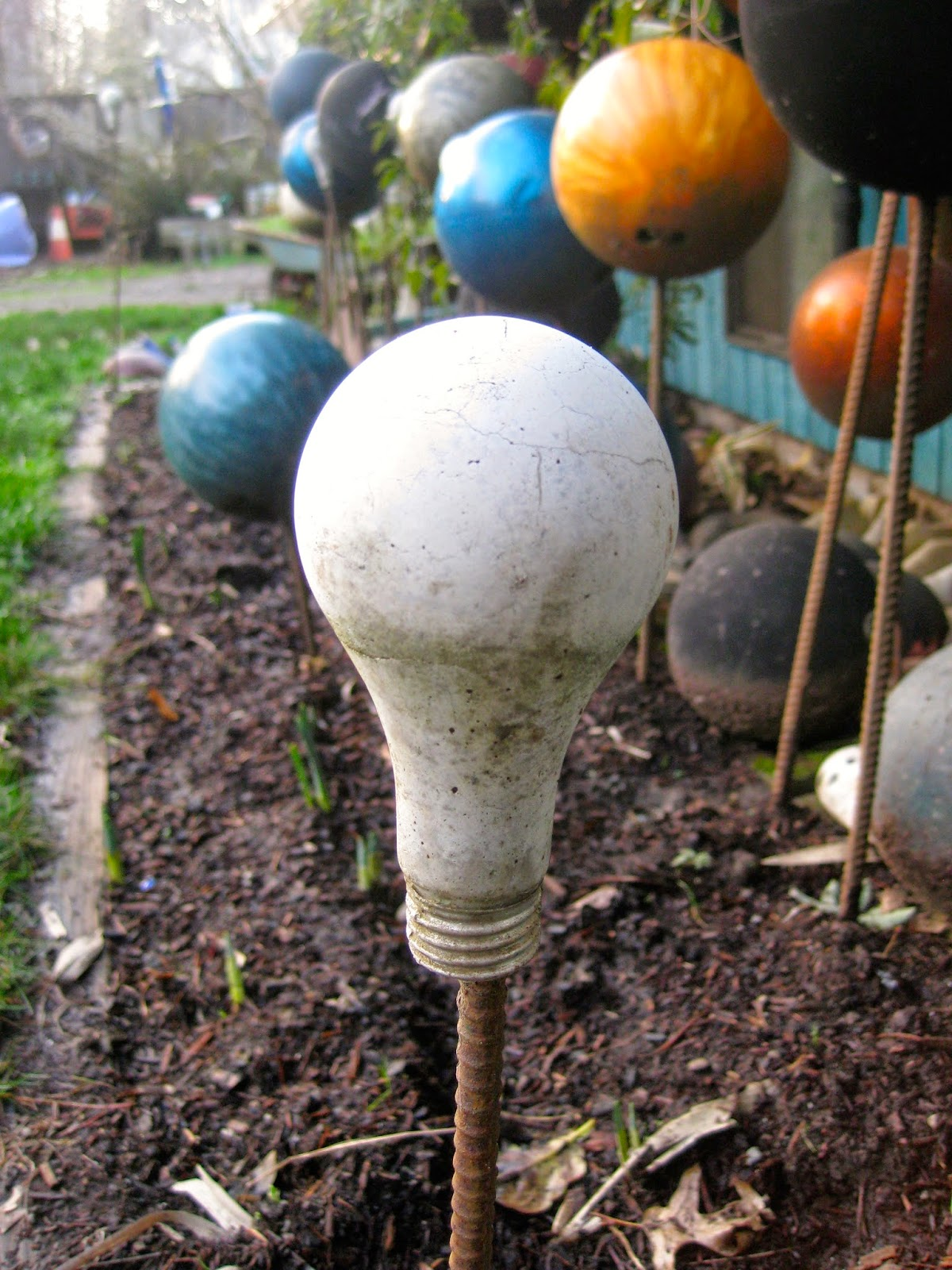 Cement Light Bulb in Ground
