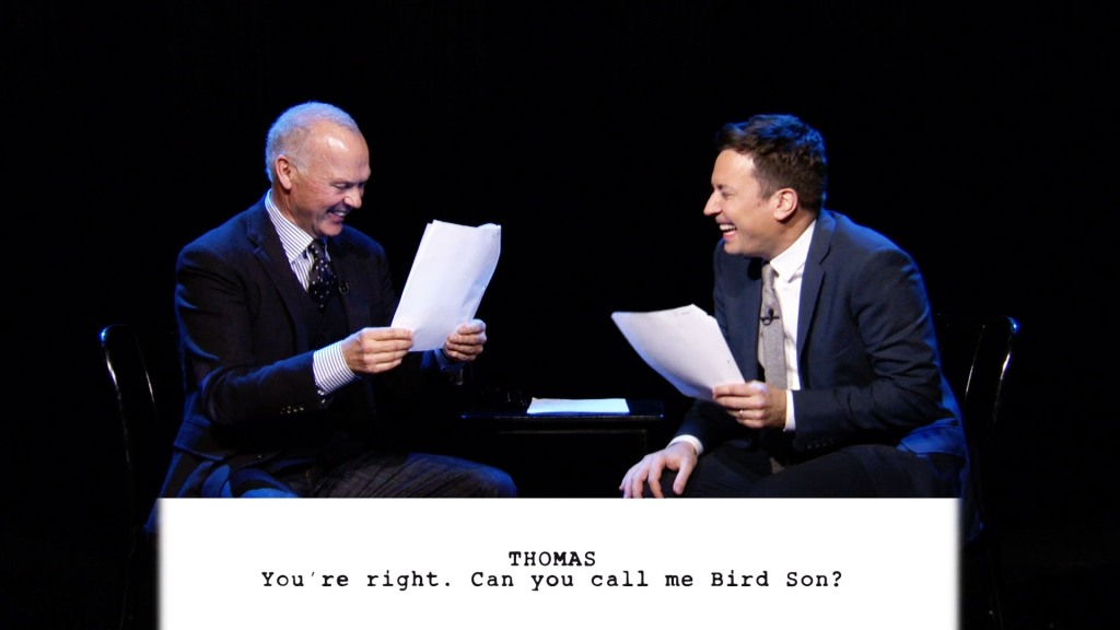 Michael Keaton and Jimmy Fallon Read 'Birdman'-Themed Scenes Written by Young Kids on 'The Tonight Show'