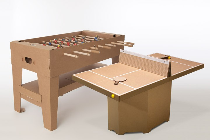 Cardboard Table Tennis And Foosball Tables That Fold Up Into Portable  Briefcases