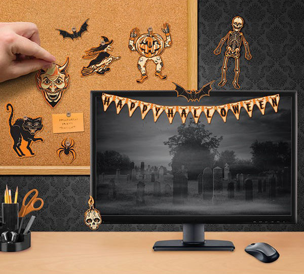 miniature birthday and halloween decorations for an office cubicle or a tiny apartment
