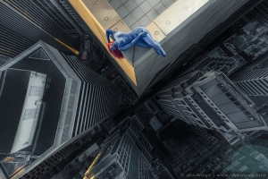 Everyday Superheroes Dangling off a Skyscraper