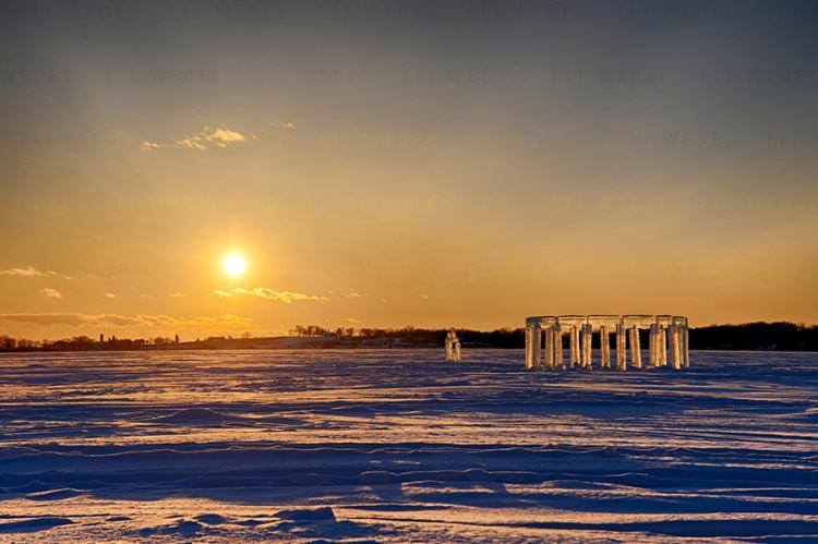 Icehenge Stonehenge Ice Sculpture in Wisconsin