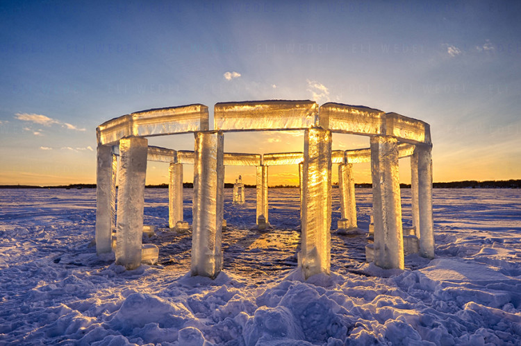 Icehenge Stonehenge Ice Sculpture in Wisconsin