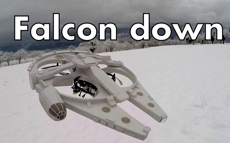 Remote-Controlled Quadcopter Drone That Looks Like the Millennium Falcon From 'Star Wars'