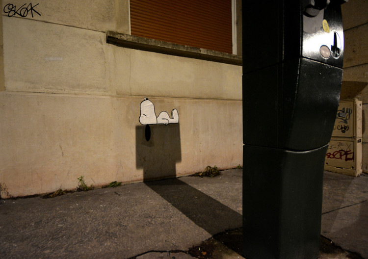 Snoopy Street Art by OakOak