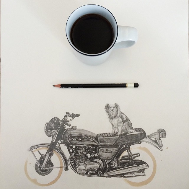 Creative Motorcycle Drawings With Coffee Cup Ring Stains