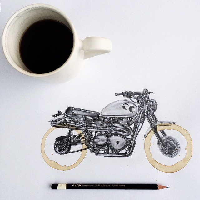 Coffee Stain Motorcycle Drawings by Carter Asmann