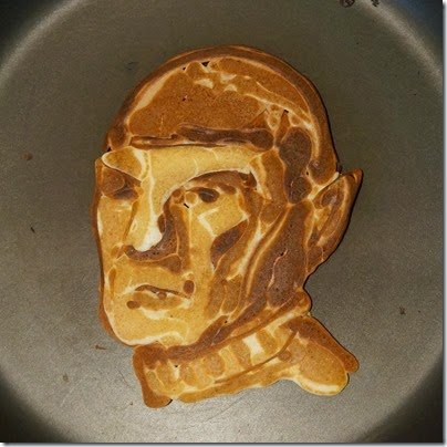 A 'Star Trek'-Themed Pancake Sculpture Portraying Spock in Honor of Leonard Nimoy