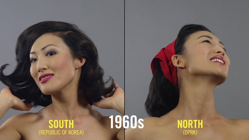 100 Years of Hair and Makeup in Both North and South Korea Shown Decade by Decade in Split Screen Time-Lapse Video