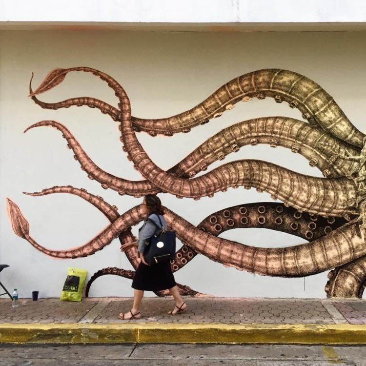 Squid-Whale Mural by Alexis Diaz