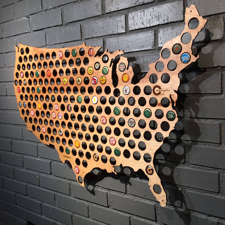 Beer Cap Maps Wooden Hole Filled Maps Allowing People To