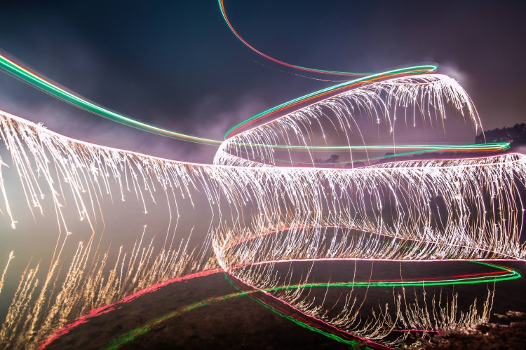 Fireworks Drone Photo by Calder Wilson