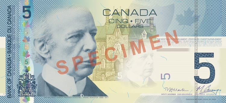 Canadian 5 Dollar Note
