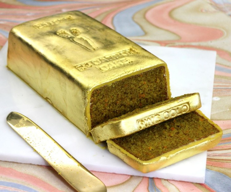 A 24 'Carrot' Cake Packed With Baby Carrots and Shaped Like a Gold Bar