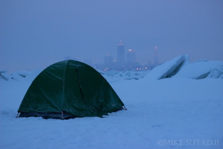 Photographer Snaps Stunning Shots of a Camping Trip on Top of a Frozen Lake Erie in the Dead of Winter