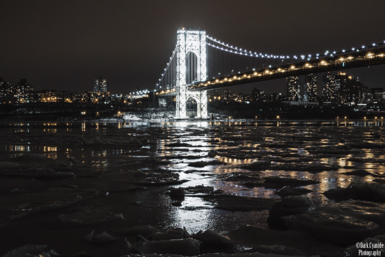 George Washington Bridge Illuminated by Lights