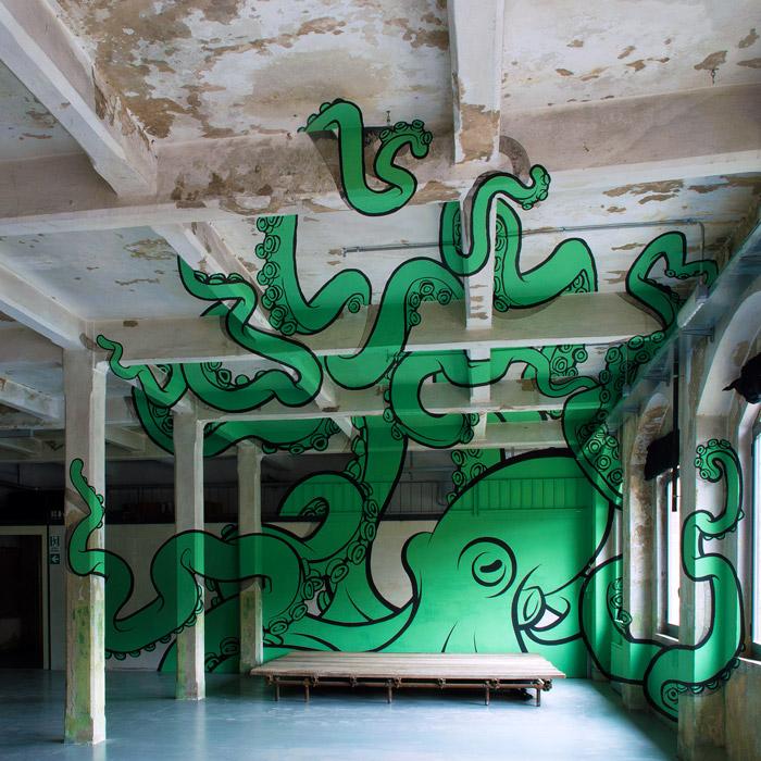 Anamorphic Octopus Mural