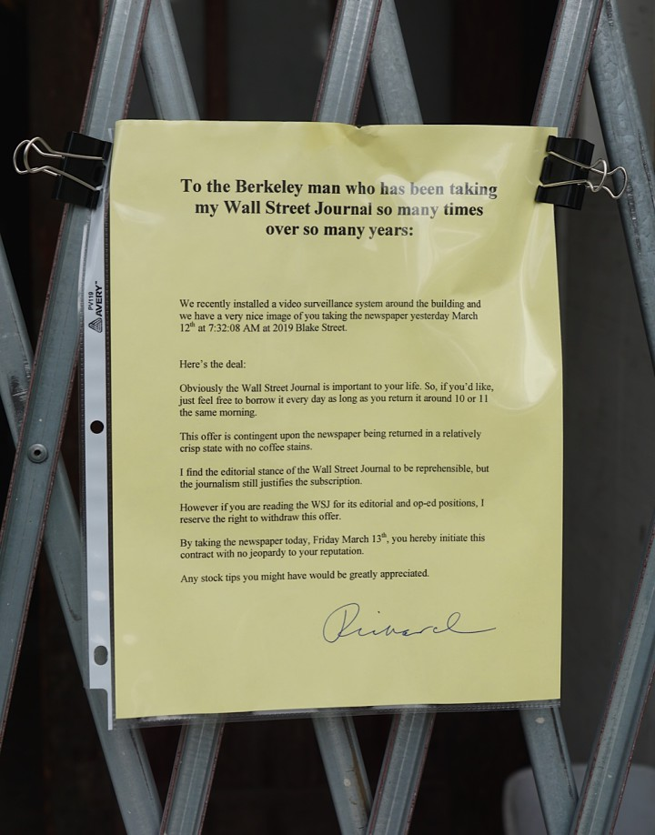 Berkeley Man Leaves Funny Note for Newspaper Thief
