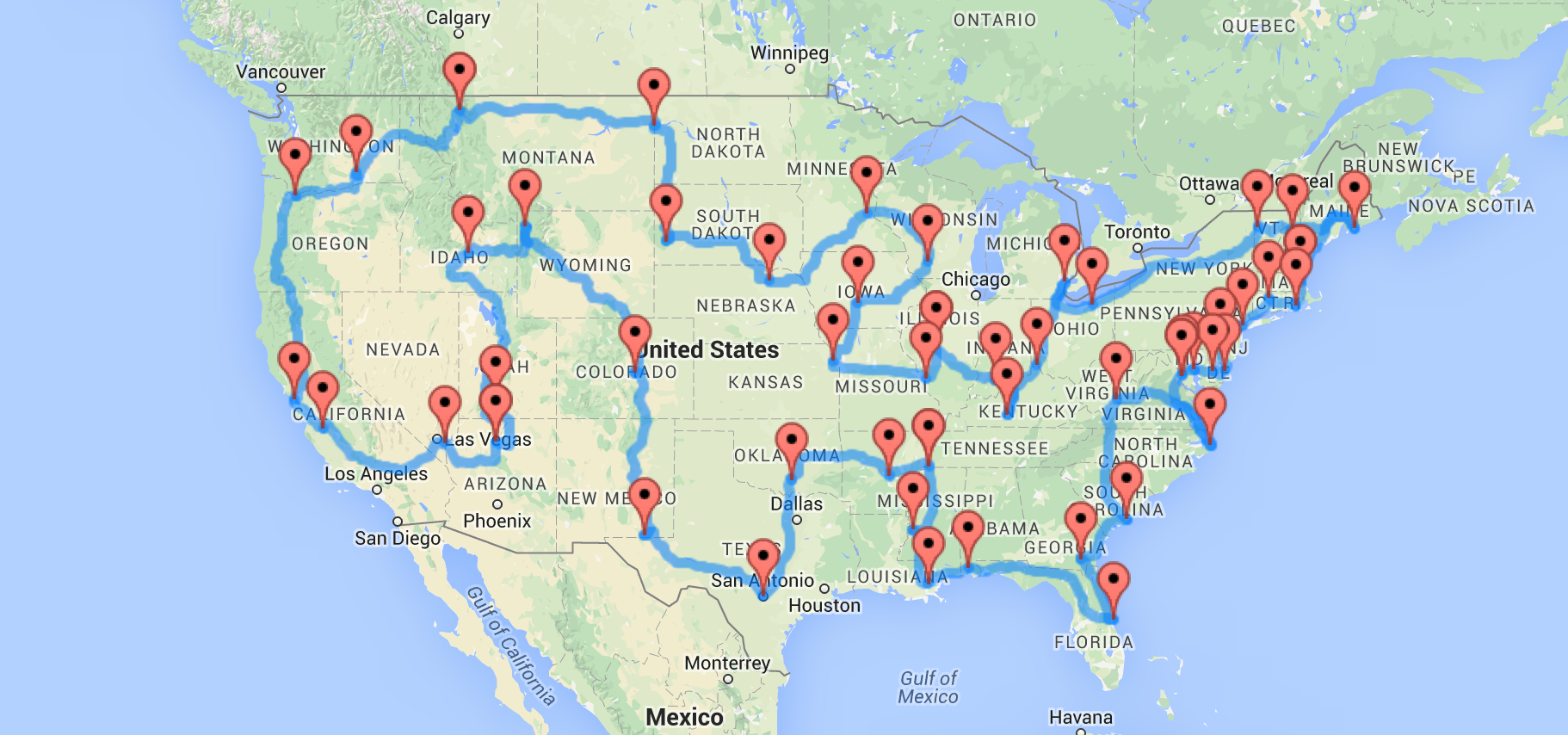 A Map Of The Optimal United States Road Trip That Hits