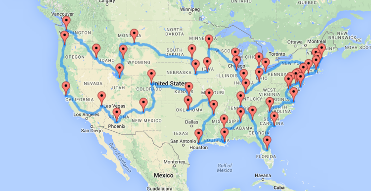 A Map Of The Optimal United States Road Trip That Hits Landmarks - Us map showing washington dc