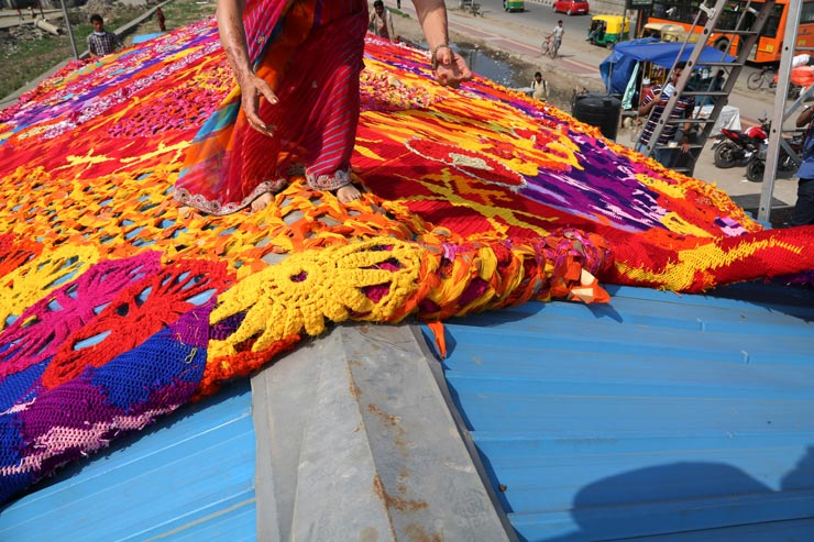 Olek Yarn Bombs Homeless Shelter New Delhi