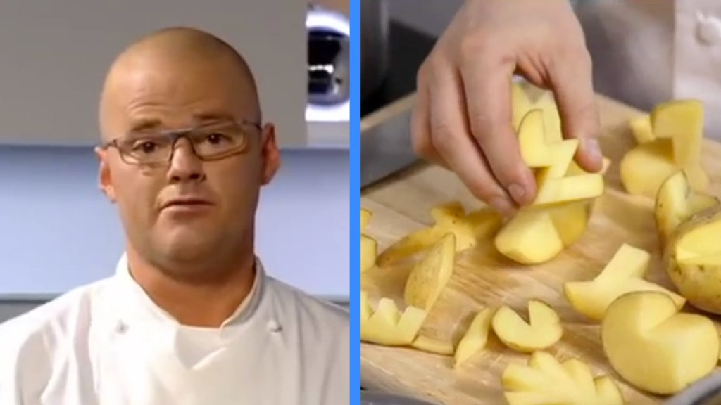Chef Heston Blumenthal Demonstrates a Simple Recipe for 'Space Chips' Using Potatoes, Alcohol, and Space Bags