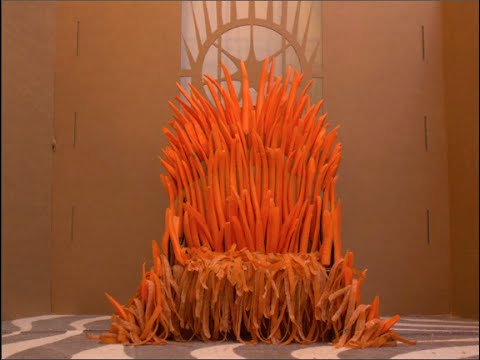 Dedicated Human Builds a 'Game of Thrones'-Style Iron Throne Out of Carrots and Cardboard for His Demanding Rabbit