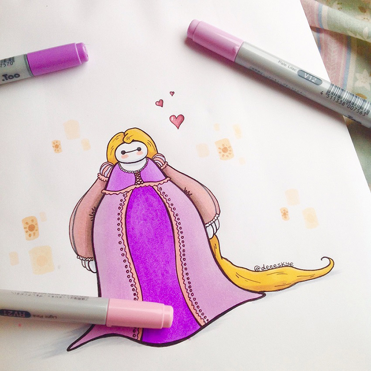 Baymax dressed as Rapunzel