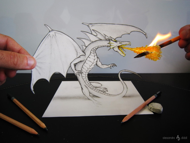 3D Illusion Pencil Drawings by Alessandro Diddi