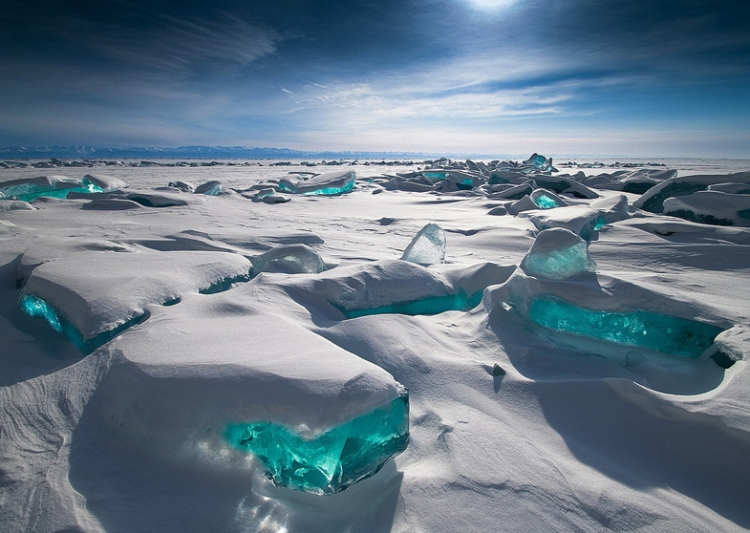 Turquoise Ice in Lake Baikal