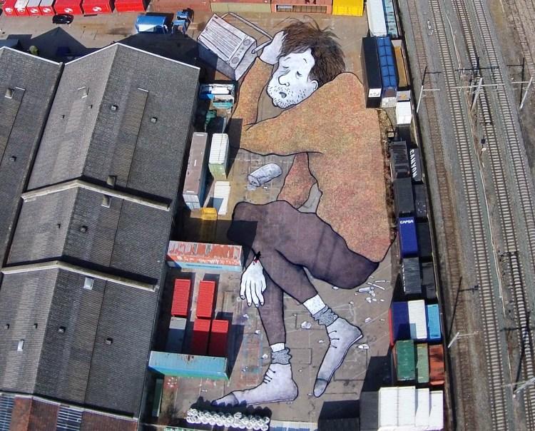 Sleeping Man Mural by Ella & Pitr
