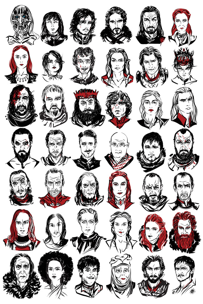 a game of thrones art print featuring illustrated