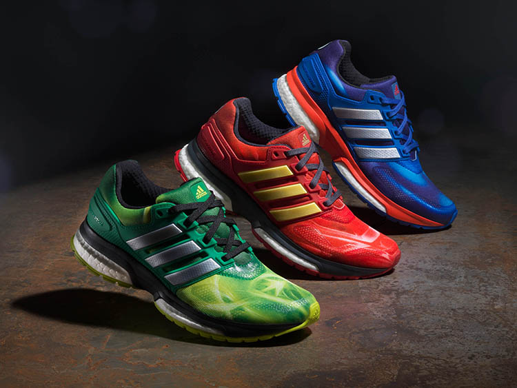 adidas and Marvel have joined forces once again to release a super cool  Avengers: Age of Ultron-themed collection of Response Boost Techfit running  shoes ...