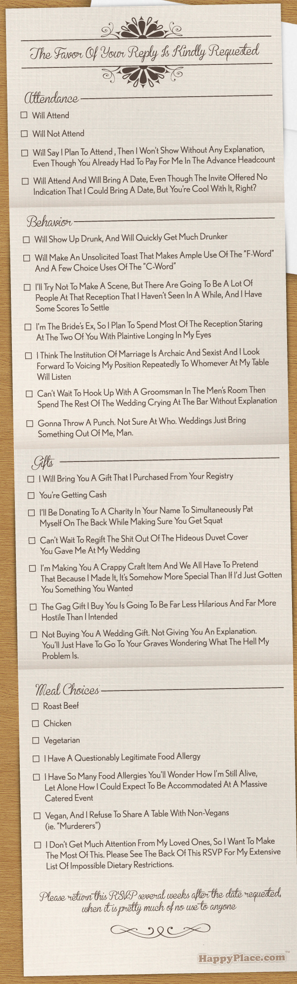 A Wedding RSVP Card for the Many Varieties of Horrible Wedding Guest