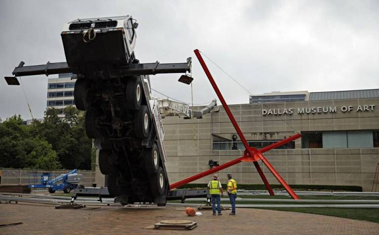 Construction Crane Accident Art Installation at Dallas Museum of Art