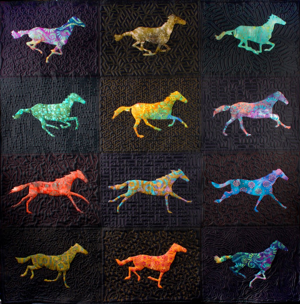 A Remarkable Quilt Featuring a Colorful Animated Galloping Horse Based on 19th-Century Photographs