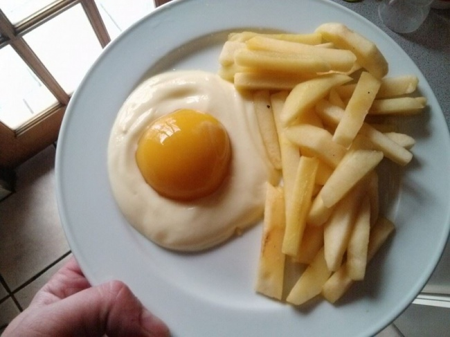 Yogurt Peach and Apple Disguised as an Egg and Fries