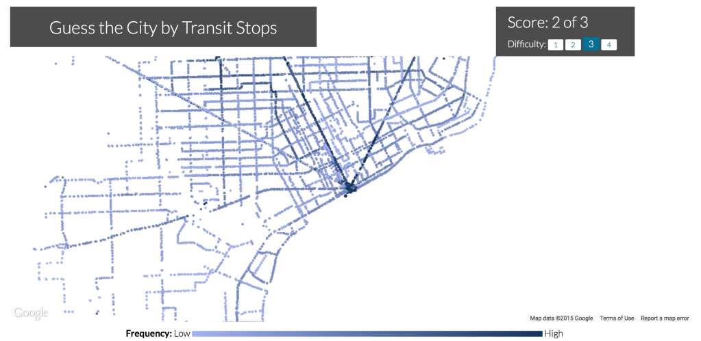 A Game That Tests Knowledge of Urban Transit Systems Based on Stops