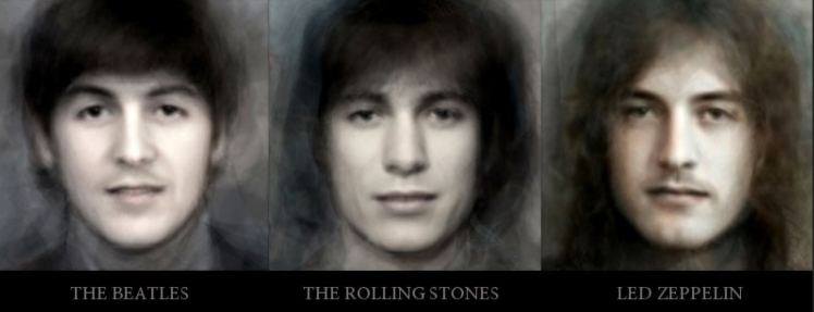 Composites of 30 Different Popular Rock Bands Created by Combining All of the Members Into One Image