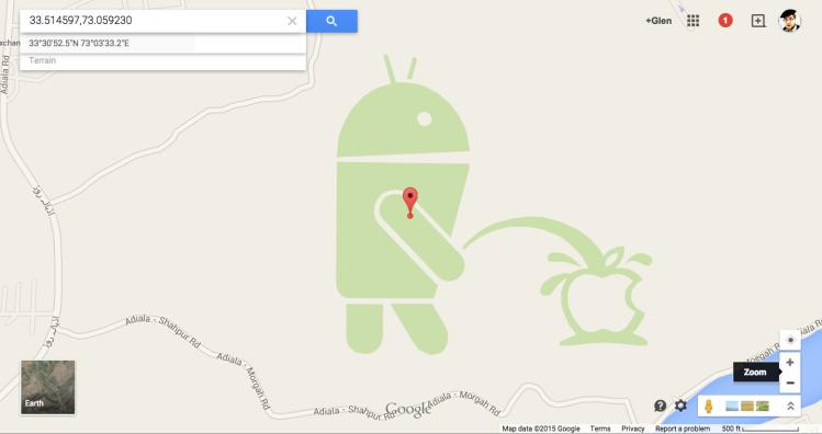 Android Logo Peeing on Apple Logo