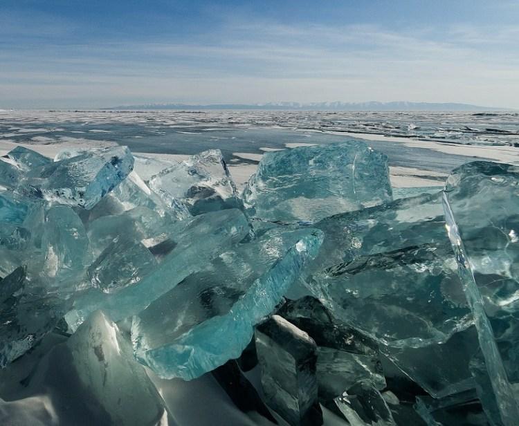 Turquoise Ice in Lake Baikal