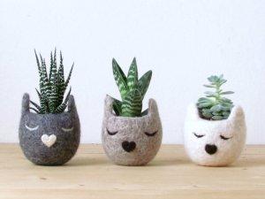 Felt animal planters