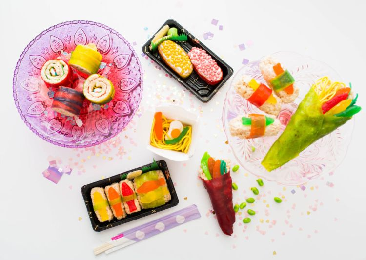 Candy sushi spread
